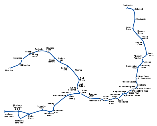 Geographically accurate path of the Piccadilly line