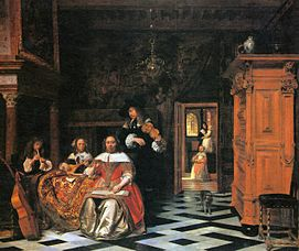 Left Image Prayer Rug 18th Century National Museum Warsaw Right Pieter De Hooch Portrait Of A Family Making Music 1663 Cleveland Art