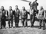 Pilots of No. 43 Squadron RAF at Wick, standing in front of one of the unit's Hawker Hurricanes, April 1940. CH83.jpg