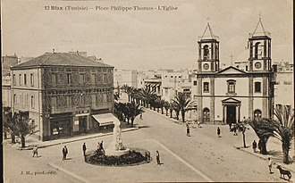 Philippe Thomas - Place Philippe Thomas, Sfax. The bust of Thomas in the center of the square was later torn down.