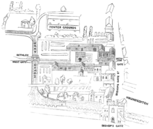 A map of the original Bethlem Hospital site