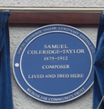 Plaque honouring Samuel Coleridge-Taylor, on the house in which he died, in Croydon (UK).png