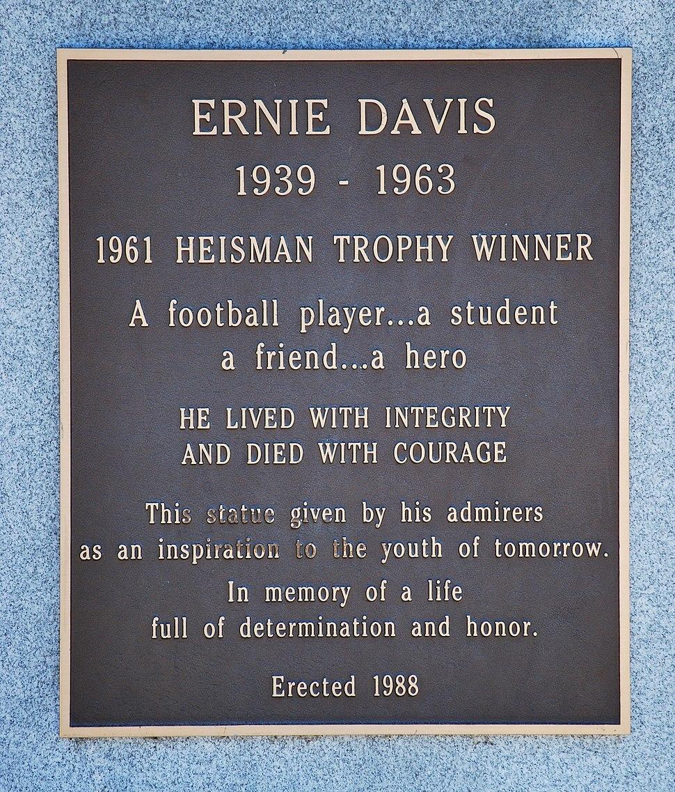 Plaque on Ernie Davis' statue