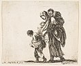 Plate 22- a beggar woman with three children, one child on her shoulders, one child in her arms, and one child who walks in front of her to left, from 'Diversi capricci' MET DP817348.jpg