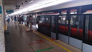 Platform screen doors at Yio Chu Kang MRT station, Singapore.jpg