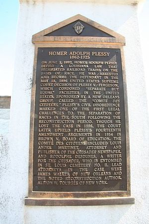 Homer Plessy - Bronze plaque on the side of the Plessy tomb in New Orleans, Louisiana