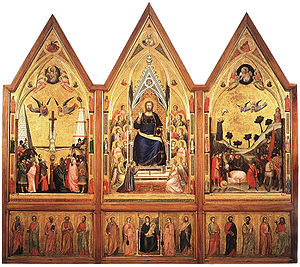 Stefaneschi Triptych - Back side. Tempera on wood.  cm 178 × 89 (central panel); cm 168 × 83 c. (side panels); cm 45 c. × 83 c. (each section of the predella)