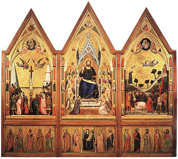 Back side. Tempera on wood. cm 178 x 89 (central panel); cm 168 x 83 c. (side panels); cm 45 c. x 83 c. (each section of the predella) Polittico stefaneschi, retro.jpg