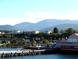 Port Angeles, Washington - Port Angeles harbor and the Olympic Mountains
