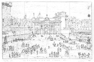 Porte Saint-Antoine - View of the porte Saint-Antoine in 1671