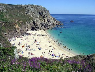 Lists of tourist attractions in England - Porthchapel beach in Cornwall, a popular surfing destination