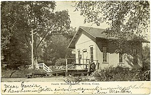 Danbury and Norwalk Railroad - South Wilton flag stop, from a postcard sent in 1906