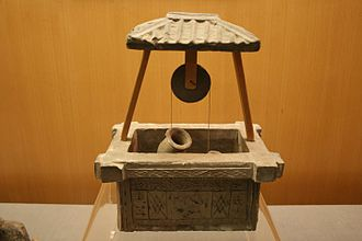 Economy of the Han dynasty - A Han pottery model of a roofed water well with a bucket