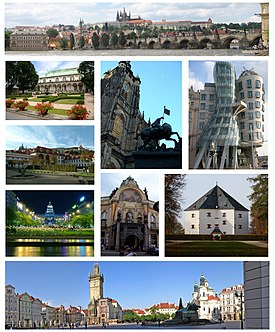 Montage of Prague, clockwise from top: Panorama of Prague Castle and Charles Bridge, Dancing House, Star Villa, Old Town Square, Wenceslas Square, Wallenstein Palace, Royal Garden at Prague Castle, St. Vitus Cathedral and Municipal House.