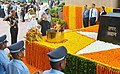 Pranab Mukherjee paying tributes to martyrs, on the occasion of the Golden Jubilee of India's Victory in Indo-Pak War of 1965, at Amar Jawan Jyoti, India Gate, in New Delhi. Three Service Chiefs, General Dalbir Singh.jpg