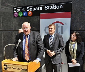 Court Square–23rd Street (New York City Subway) - NYCT president Thomas Prendergast at the complex's opening in 2011