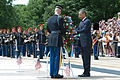 President Barack H. Obama, foreground right, lays a wreath at the Tomb of the Unknowns in recognition of Memorial Day May 27, 2013, at Arlington National Cemetery in Arlington, Va 130527-A-VS818-150.jpg