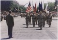 President Bush greets General H. Norman Schwarzkopf who leads the Desert Storm Homecoming Parade in Washington, D.C - NARA - 186434.tif
