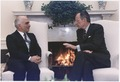 President Bush meets with King Hussein of Jordan in the Oval Office - NARA - 186446.tif