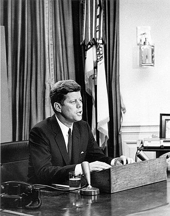 John F. Kennedy addresses the nation about civil rights on June 11, 1963 President Kennedy addresses nation on Civil Rights, 11 June 1963.jpg