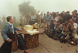 Reaganomics - President Ronald Reagan signs the Economic Recovery Tax Act of 1981 at his California ranch.