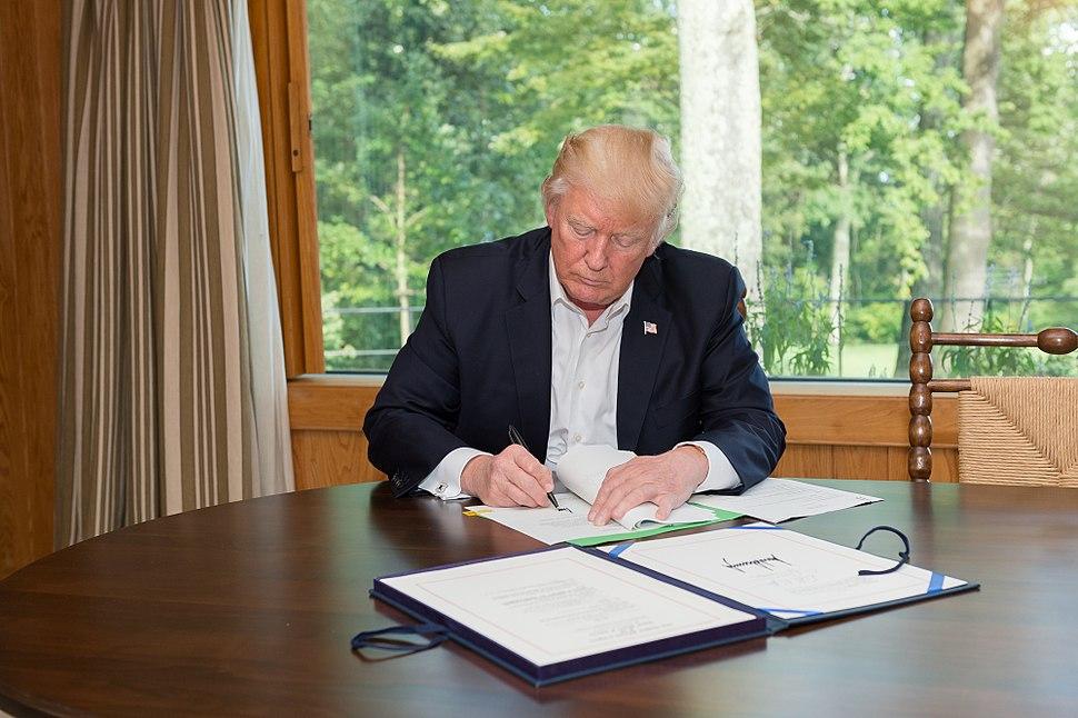 President Trump signing Hurricane Harvey bill