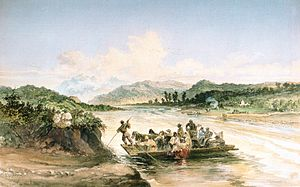 Olt River - Crossing the Olt river, 1869 watercolor by Amedeo Preziosi