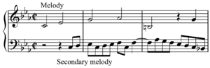 Counter-melody - Image: Primary and secondary melody BWV 1079, m.1 3