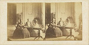 Isabel, Princess Imperial of Brazil - Princesses Leopoldina (left) and Isabel (center) with an unidentified friend, c. 1860