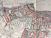 Printed Map Descriptive of London Poverty. Sheet 13(?) covering Woolwich (22643234567) (cropped)