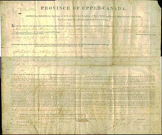 Upper Canada - An 1824 land deed for Upper Canada