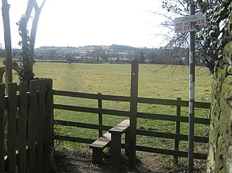 Footpath - A rural footpath with a stile in Derbyshire, England