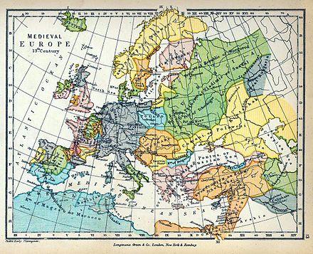 Cartina Europa In Inglese.Europa Nel Xiii Secolo Wikipedia