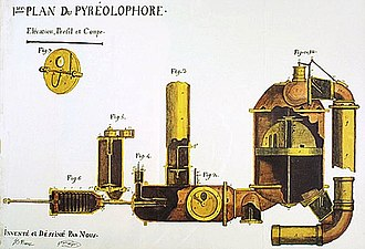 Pyréolophore -  Diagram of the first internal combustion engine, the Pyréolophore, of 1806 drawn by the Niépce brothers