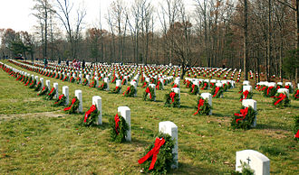 Quantico National Cemetery - Volunteers with the Sgt. Mac Foundation placed wreaths on 2,200 graves at Quantico National Cemetery on December 6, 2008 to honor interred service members
