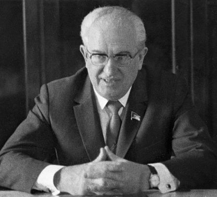 Yuri Andropov, the Chairman of the KGB who presided over the pervasive crackdown on dissent during Brezhnev's leadership. RIAN archive 101740 Yury Andropov, Chairman of KGB.jpg
