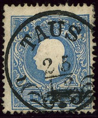 Domažlice - Austrian KK 15 kreuzer stamp, issue 1859, cancelled TAUS