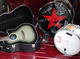Rage Against the Machine - Some of the band's gear on display at the Rock and Roll Hall of Fame after their unsuccessful 2018 nomination for induction.