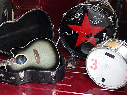 Some of the band's gear on display at the Rock and Roll Hall of Fame after their unsuccessful 2018 nomination for induction. Rage Against the Machine Touring Van - Interior with Instruments - Rock & Roll Hall of Fame and Museum, Cleveland (by Adam Jones).jpg