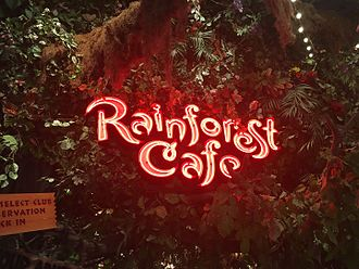 Rainforest Cafe - A neon-sign welcomes visitors to a Rainforest Cafe, located inside the Great Lakes Crossing Outlets shopping complex in Auburn Hills, Michigan.