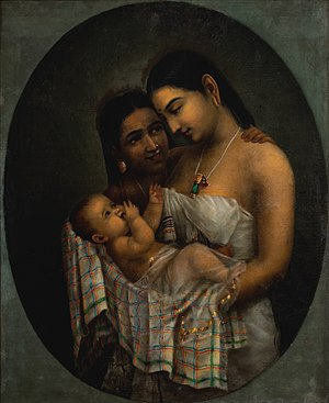 A painting showing the affection of mother.