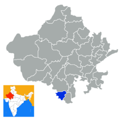 Location of Dungarpur district in Rajasthan