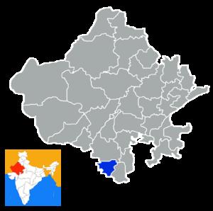 Dungarpur district - Location in Rajasthan