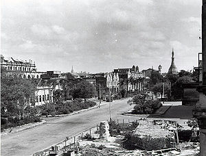 Japanese occupation of Burma - The destruction of Rangoon in the aftermath of World War II.
