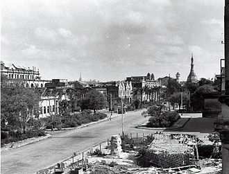 Yangon - Damage of central Rangoon in the aftermath of World War II.
