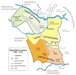 Rawa Voivodeship - Counties of Rawa Voivodeship