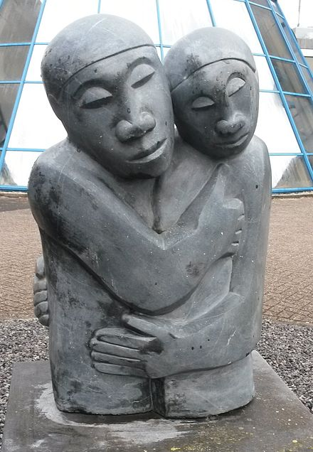 """Reconciliation"", a stone sculpture by Amos Supuni Reconciliation Amos Supuni Woerden.jpg"