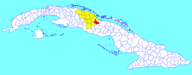 Remedios municipality (red) within  Villa Clara Province (yellow) and Cuba