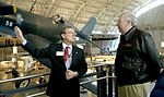 Retired Maj. Gen. Joseph T. Anderson (left) explains future growth plans for the National Air and Space Museum in Chantilly, Va., to Air Force Secretary Dr. James G. Roche on Dec. 21, 2004.jpg