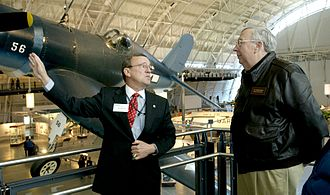 Joseph T. Anderson - Joe Anderson (left) explains future growth plans for the National Air and Space Museum to Air Force Secretary James Roche